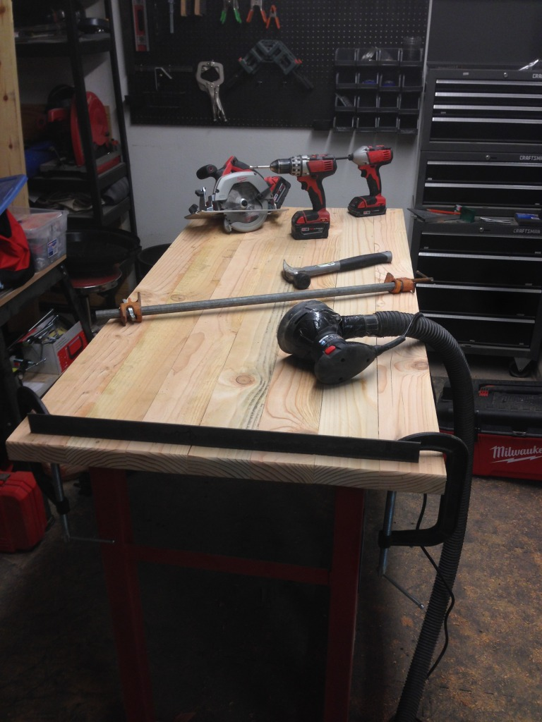 This is the desk top construction.  Going to take lots of sanding!