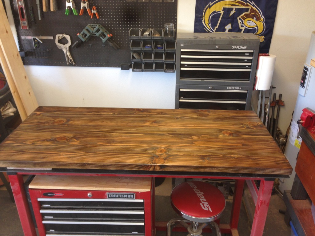 The desk top with stain and clear.